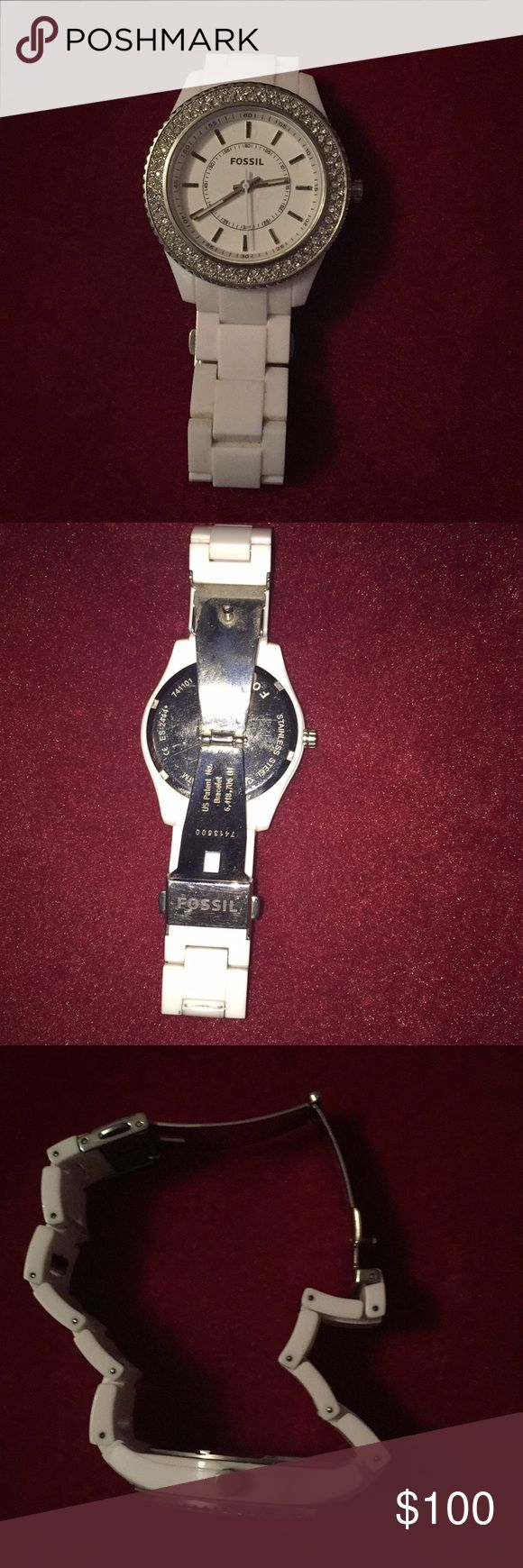 White Fossil Watch White ceramic fossil watch. Stainless steel back and clasp. Decorated face with crystal Fossil Accessories Watches