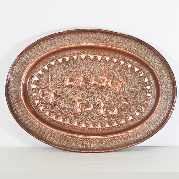 Persian Copper Tray: Vintage Large Oval Tray Intricately Hand Engraved Decorations, Oval Plate, Islamic Art, Home Decor