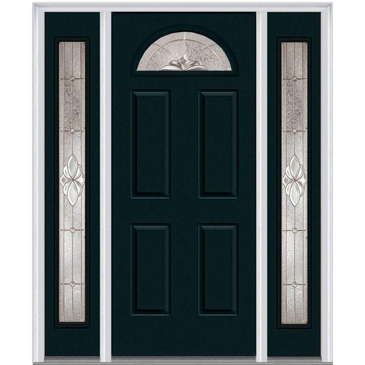 Milliken Millwork 64.5 in. x 81.75 in. Heirloom Master Decorative Glass 1/4 Lite Painted Majestic Steel Exterior Door with Sidelites, Dark Night