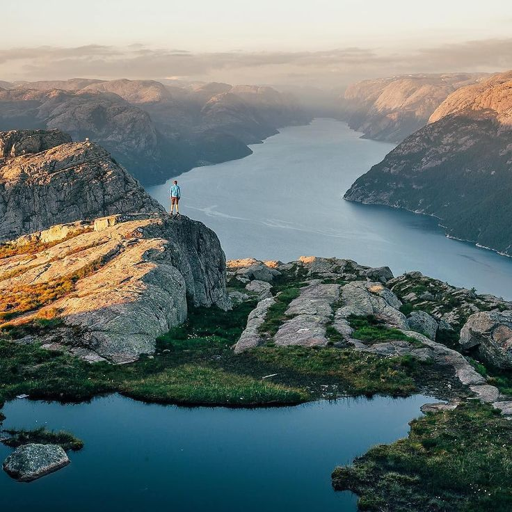 """Norway is a dream I never want to wake up from. This was last night at Preikestolen. No words."" No words needed @georgetheexplorer - the photo truly speaks for itself #visitnorwayusa #norway #pulpitrock #stavanger"