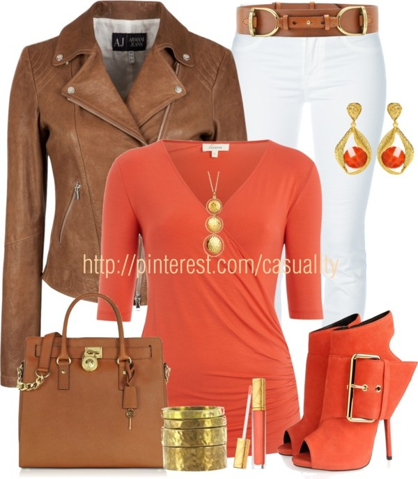 """Armani Leather Jacket & Mk Tote"" by casuality on Polyvore"