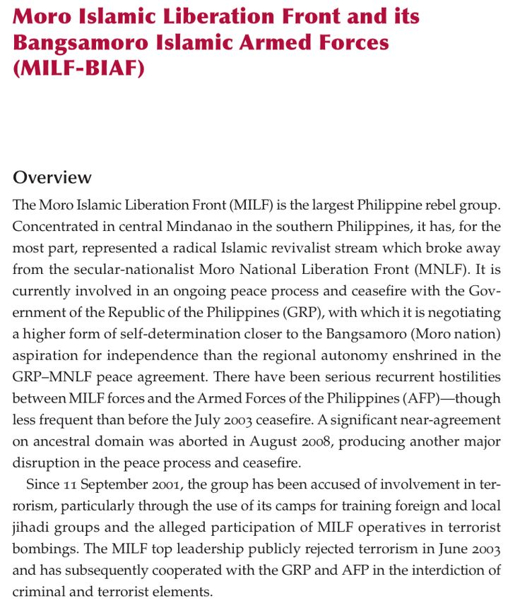 C3 - Moro Islamic Liberation Front (MILF) & Bangsamoro Islamic Armed Forces (BIAF)