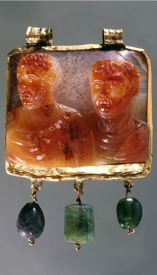 Busts of Two Emperors, Roman, late 3rd-early 4th century, 3.5 cm x 4.3 cm (1 3/8…