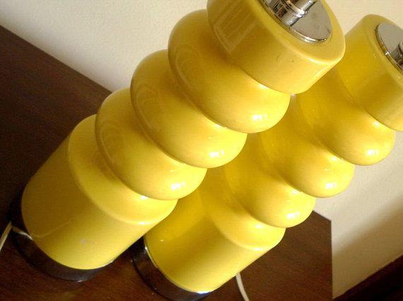 Pair 2 Sonneman rare Yellow Ceramic Chrome//Mid century modernist danish style lamps for sale on etsy  by MushkaVintage3