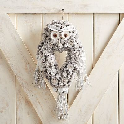 Pinecone Owl Door Decor & Wreath | Pier 1 Imports