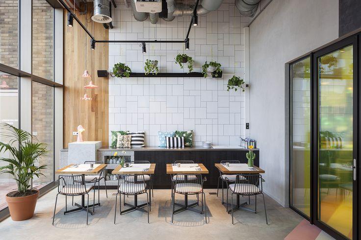 Interior design restaurant The Pool Groningen; design by Ninetynine #restaurant #white #tiles
