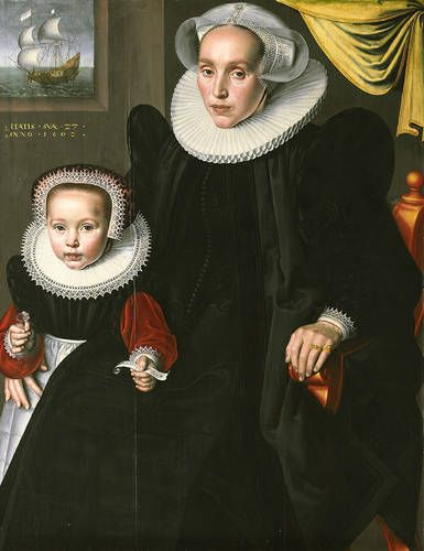 Jan Claesz (Dutch, active 1593-1618). Portrait of Lysbeth Walichsdr and her Daughter Elisabeth, 1602. Oil on canvas. 40 15/16 x 31 1/2 in. (104 x 80 cm).