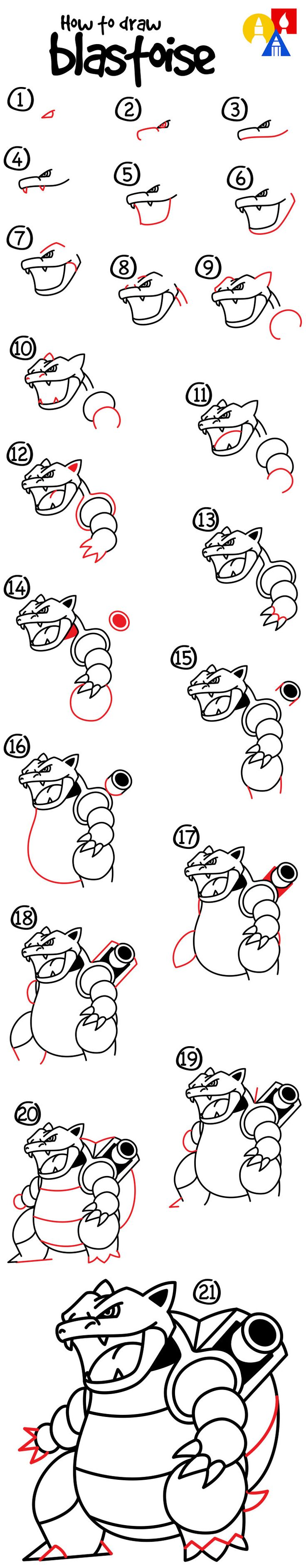 How to draw Blastoise from Pokemon!
