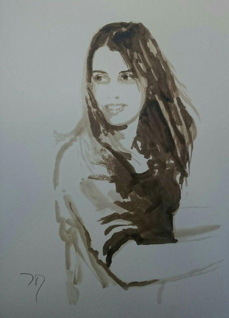 little sister -portrait. bitume de Judée + white spirit