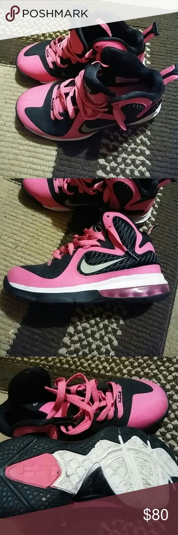 Pink lebron 4y Pink,black and silver LeBron tennis shoes perfect condition 4y Nike Shoes Sneakers