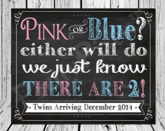 Custom Chalkboard Pregnancy Announcement Sign, Chalkboard Twins Announcement, Twins Baby Announcement - Custom Baby Announcement