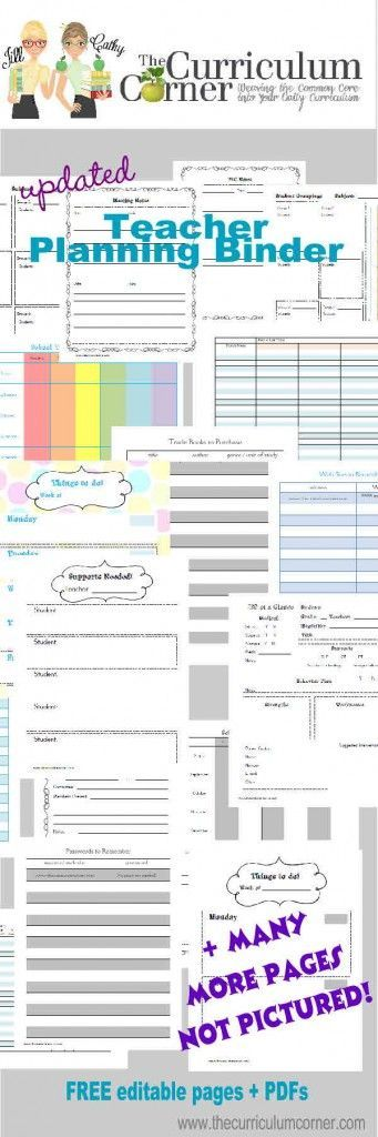Free Updated Teacher Planning Binder from The Curriculum Corner editable Word files + PDFs - share with all of your teacher friends!