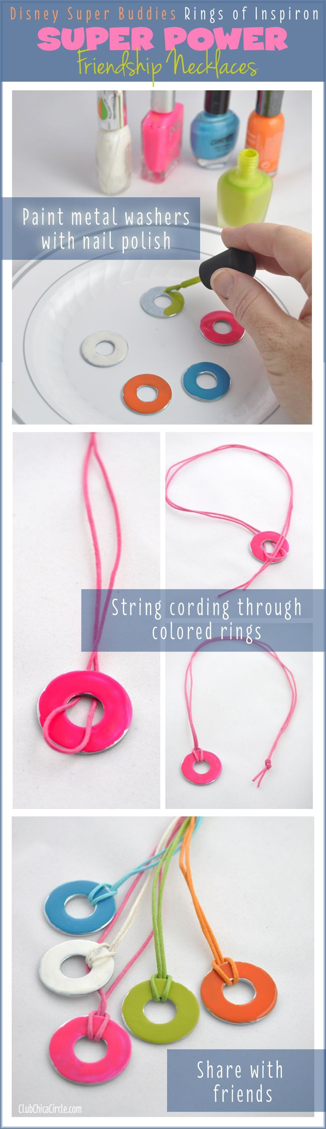 SUPER cute Friendship Necklace craft idea based on the Disney #SuperBuddies new movie. #ad  Turn simple metal washers into lovely necklaces and share with friends.