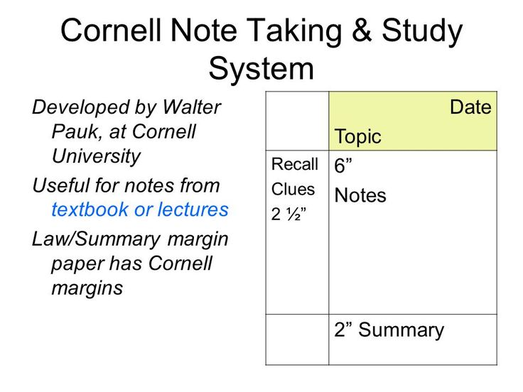 Cornell Note Taking  Study System Developed By Walter Pauk At