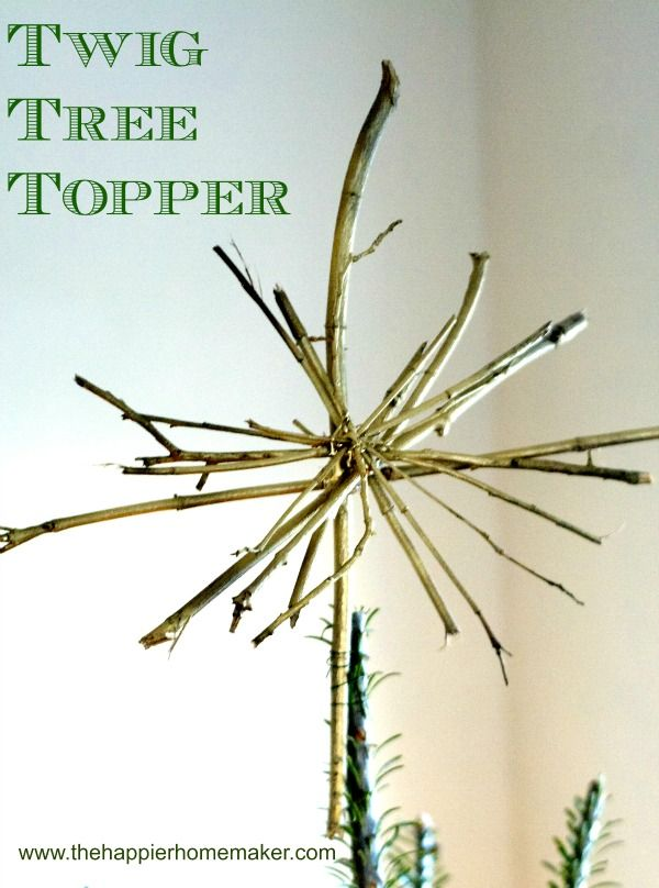 Vintage Button garland and Rustic Twig Tree Topper-The Happier Homemaker