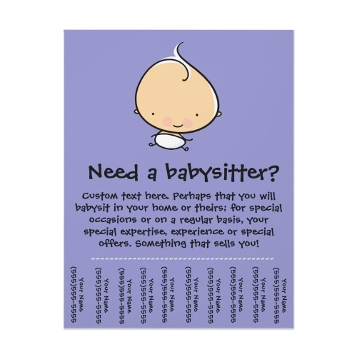 Babysitting flyer. Definitely need this in a small town, big city, or anything. get your babysitting skills known!
