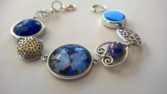 FREE SHIPPING  Blue asymmetrical bracelet Butterfly