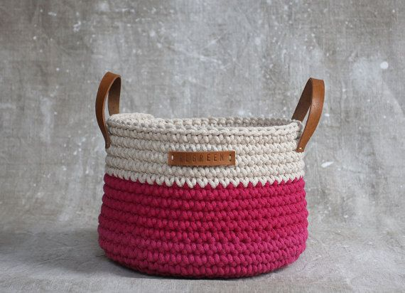 Handmade Crochet  Cotton Basket in cream/ by regreenyourlife