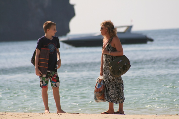 Jonas and I wainting for a boat to take us to a bounty beach at Krabi in Thailand