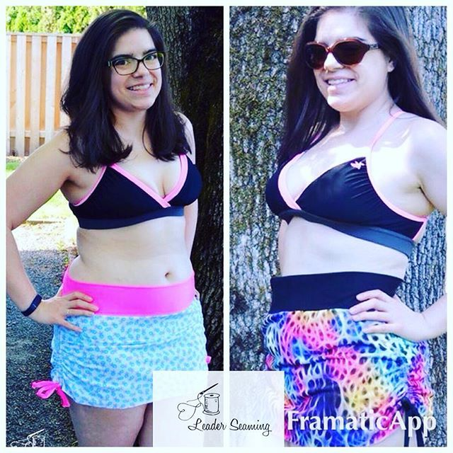 Jump over to www.leadersews.com to learn how to make your own swim skirt based off the @jocolepatterns  yoga skirt. This super cute skirt is perfect for summer! #leadersews #swimskirt #swimsuit #zenithandquasarfabric #purpleseamstress