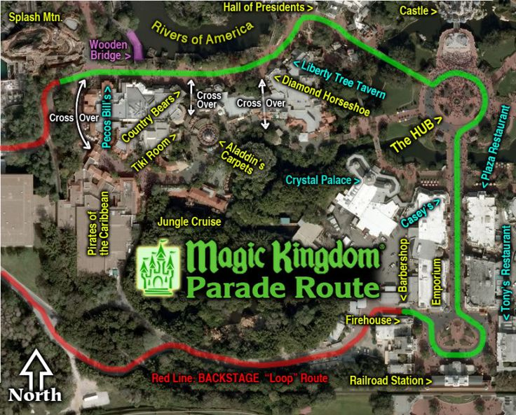 Magic Kingdom Parade Route (SpectroMagic runs from Main Street to Frontierland; All other parades run from Frontierland to Main Street)