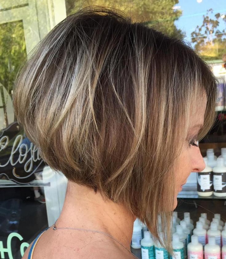 Angled Brown Bob With Blonde Highlights