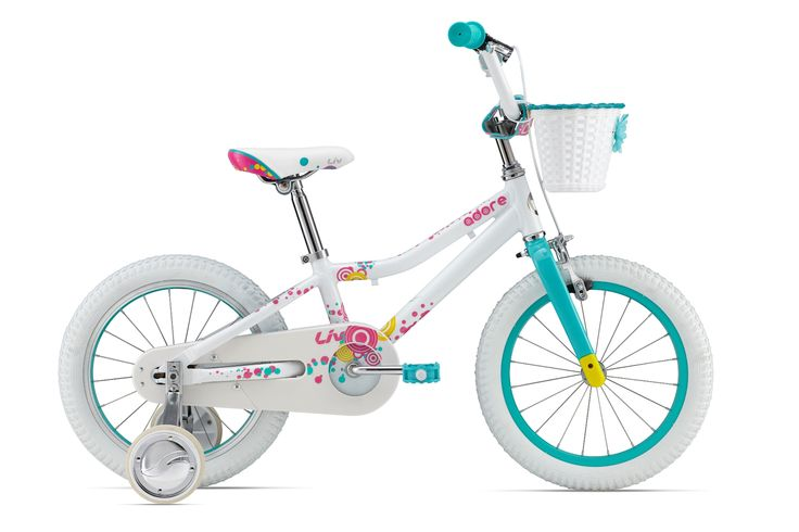 Cute white bicyckle with pink and turqouise ornaments. For a girl :)