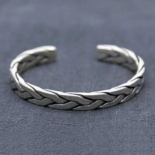 Men's Sterling Silver Heavy Braided Cuff Bracelet