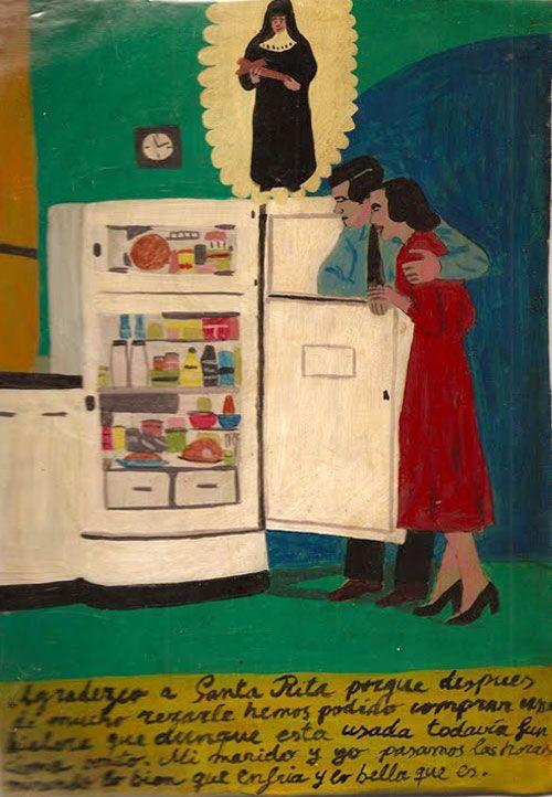 Благодарю Святую Риту, что после долгих молитв, обращенных к ней, мы всё-таки смогли купить холодильник. Пусть он и подержанный, но работает, как новенький. Мы с мужем никак не налюбуемся им и часами смотрим, как он охлаждает продукты.