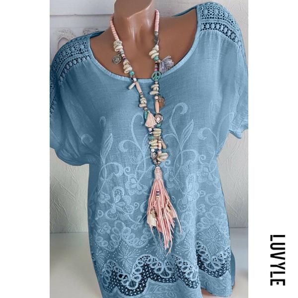AdoreWe #Luvyle #Luvyle Round Neck Hollow Out Printed T