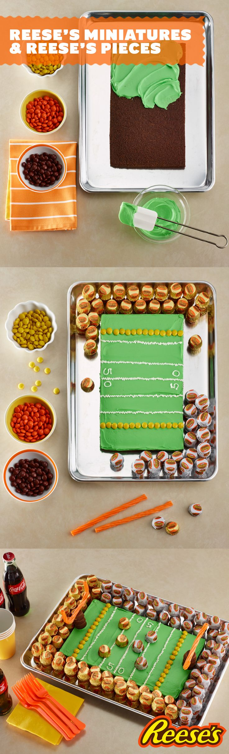Game time means it's time to pull out all the stops and go for two...Reese's Peanut Butter Cups that is. Score a touchdown this game day with this cake recipe that has not one but two the Reese's star players: Reese's Pieces and Reese's Miniatures.
