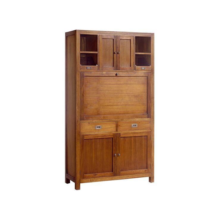 #Vitrina #colonial con #escritorio oculto, 4 puertas y dos cajones.