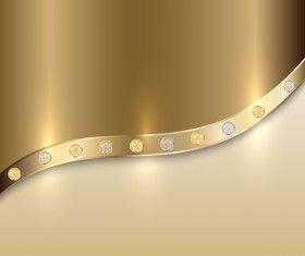 Golden metal with diamond background vector