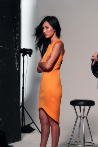 Behind the Scenes of Miss Vogue - Gary Pepper Vintage wears the Josh Goot Future Basics cut away dress in tangerine - available at Elle!