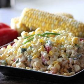 Fresh Corn Salad!  Made this tonight. Changed it a bit. Roasted corn with olive oil, but tossed it with Ranch Dressing, green onion, yellow bell pepper, fresh crumbled bacon..... really yummy!