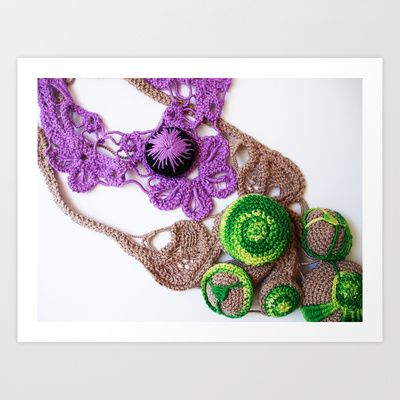 Lilac Lime Romanian Point  Lace Photography  Art Print by BaleaRaitzART - $38.48