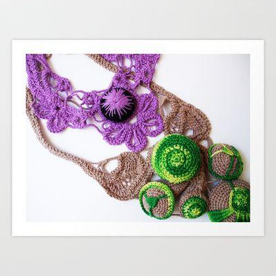 Lilac Lime Romanian Point  Lace Photography  Art Print by BaleaRaitzART - $38.48