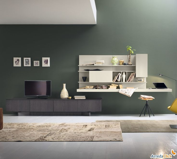 Plan FS56 Wohnwand mit beitem Regal als Schreibtisch - ARREDACLICK