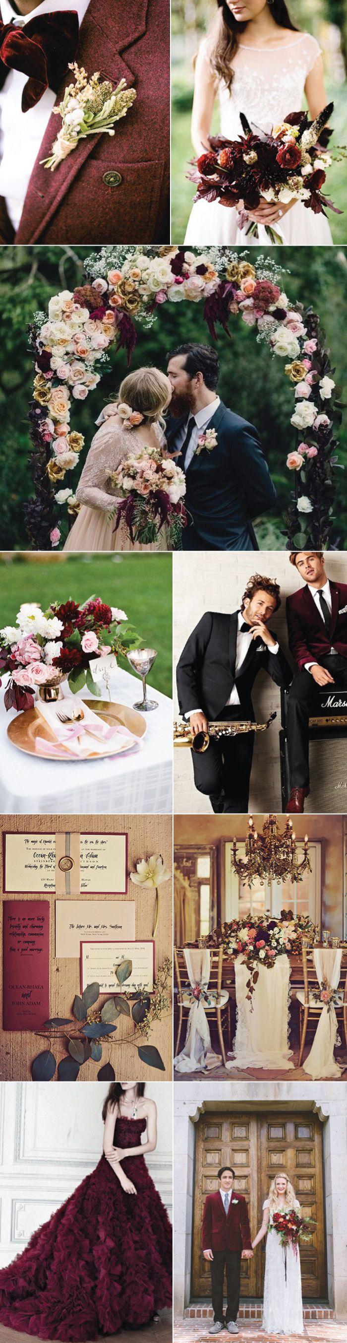 Ideas for Winter + Autumn Burgundy Weddings