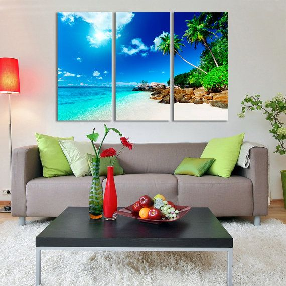 Check out Large Wall Art Tropical Island Beach Ocean View extra large art Canvas,beach wall art, beach canvas art, nautical decor,ocean canvas art on largeartcanvas