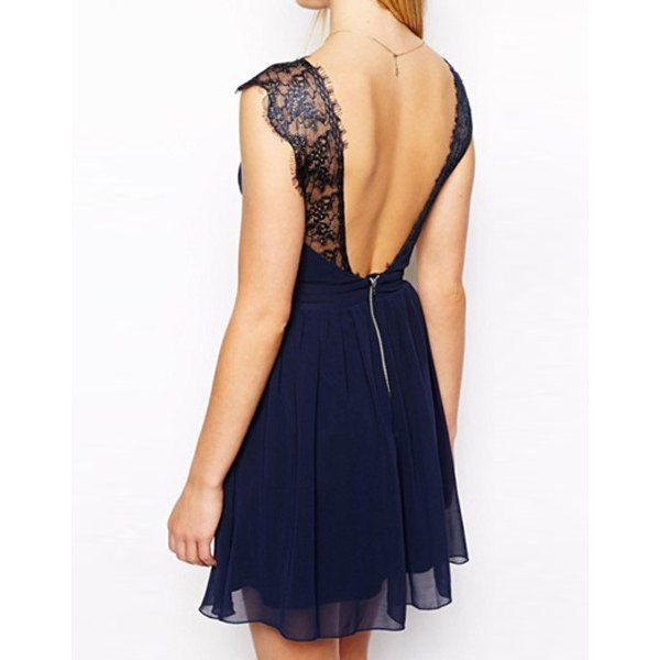 Trendy Style Sleeveless Lace Splicing Solid Color Backless Women's Dress, BLUE, M in Dresses 2014 | DressLily.com