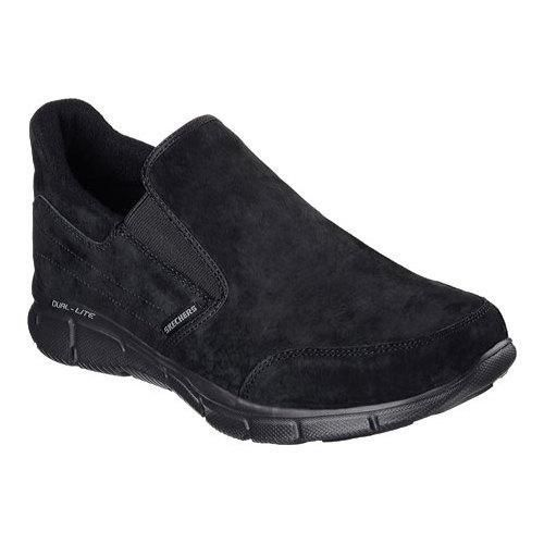 Upgrade to a roomy comfortable style with the SKECHERS Equalizer - Chakote shoe. Soft suede upper in a slip on sporty comfort walking shoe with stitching and overlay accents. Memory Foam insole. Soft