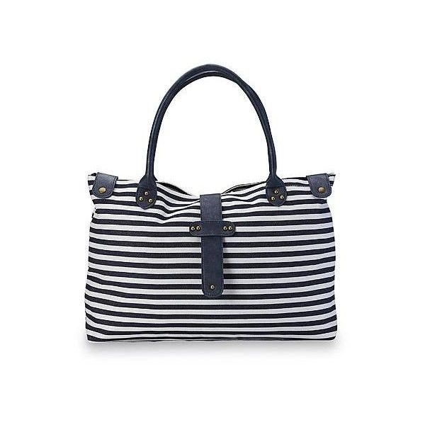 Adam Levine Women's Nautical Tote Bag - Striped - Clothing, Shoes &... (€53) ❤ liked on Polyvore featuring bags, handbags, tote bags, purse tote, stripe tote, handbags & purses, stripe tote bag and white tote