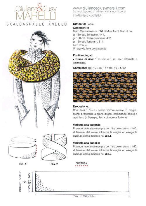 """SCALDASPALLE ANELLO A tutti gli amanti della lavorazione a più colori suggeriamo lo scaldaspalle ad anello da indossare sul cappotto per le giornate più fredde. Lo abbiamo realizzato con il filato """"Tecnomerinos"""" di Miss Tricot Filati, a punto grana di riso a 3 colori - Tortora, Testa di moro e Senape - ottenendo un effetto tweed trendy e facilissimo! Buon lavoro"""