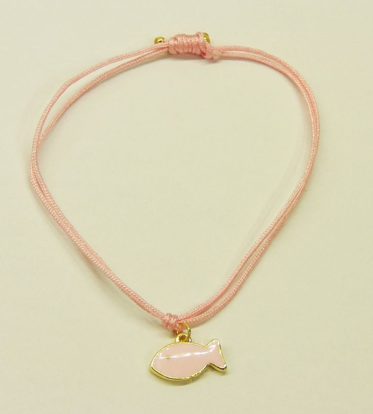 Handmade bracelet/pink leather/base metal fish charm/gold plated/24 carats/pink enamel by CrownedCharm on Etsy