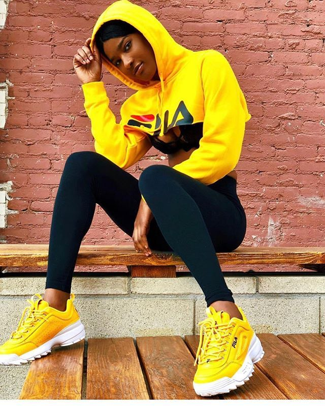 Fila The Disruptor II yellow in 2020 | Fila outfit, Swag