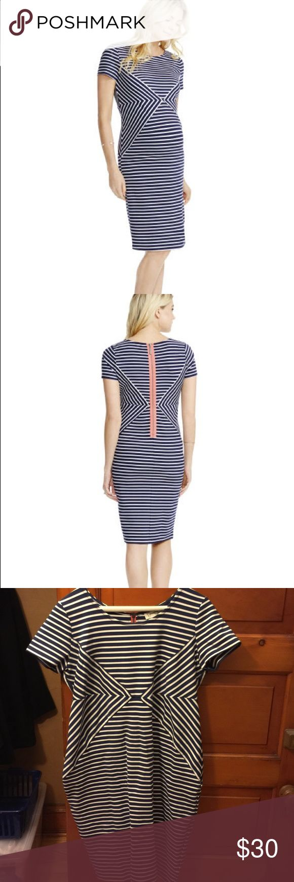Jessica Simpson maternity dress Blue and white stripe maternity dress. Amazing fit!! My favorite dress this pregnancy worn 4 times total. Pink color zipper detail really fun. Material is thick and stretchy for comfy fit. Rayon nylon and spandex. Jessica Simpson Dresses Midi