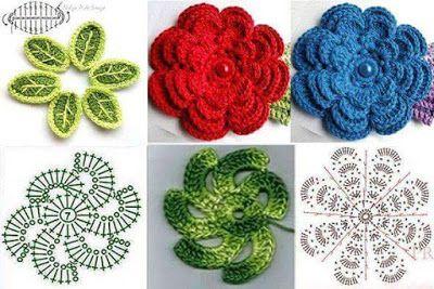 16 Esquemas de flores en cuadritos para proyectos