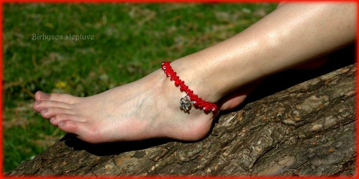 #red #macrame #anklet #with 'tibetiansilver #charms <3