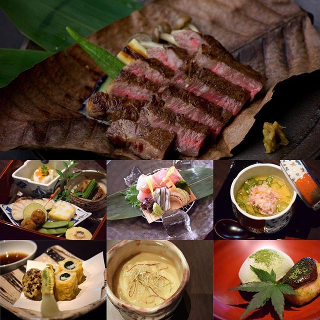 Wagyu beef Hoba grill Course Assortment of Appetizers / Seasonal Sashimi / Wagyu beef Hobal grill / Cold Egg Custard with crab / Pike conger Tempura / Fine noodle with Sea bream / Seasonal Dessert Contents are changed as Season  黒毛和牛朴葉焼コース 季節の前菜盛り合わせ旬魚のお造り和牛朴葉焼き冷やし茶碗蒸し 蟹鱧の天婦羅鯛そうめん季節のデザート 内容は季節によって変わります  #kitaohji #kaiseki #course #japanesefood #instafood #foodpic #yum #yummy #wagyu #wagyubeef #sashimi #appetizer #season #thonglor #sukhumvit #bangkok #อาหารญ #dinner #authenticjapanesecuisine…